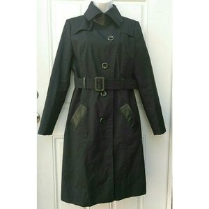 Mackage Belted Trench Coat Leather Trim